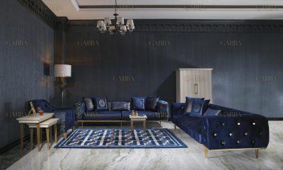 Cavalli kapitoneli petrol mavisi koltuk takımı şık tasarımı ve gold metal detaylarıyla sizlerle